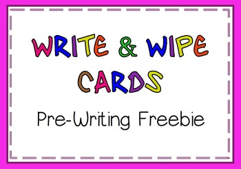 Write and Wipe Cards Pre-Writing - FREE
