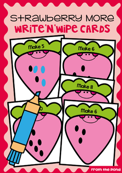 Addition Write and Wipe Cards - Strawberry More - Adding More