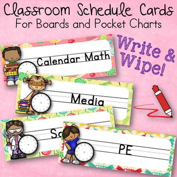 Write and Wipe Classroom Schedule Cards Candy Theme For Boards & Pocket Charts