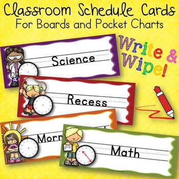 Write and Wipe Classroom Schedule Cards For Boards and Poc