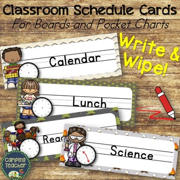 Write and Wipe Classroom Schedule Cards For Boards & Pocket Charts Camping Theme