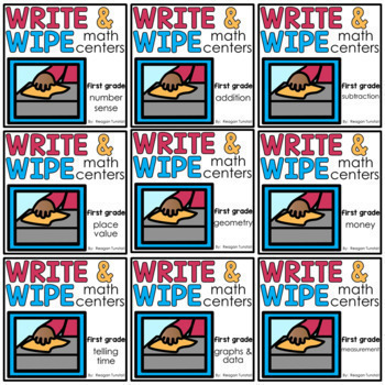 Write and Wipe Math Centers First Grade Bundle