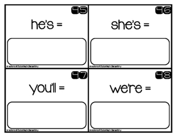 Write and Wipe Grammar: Contractions Set