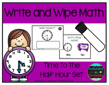 Write and Wipe Math: Time to the Half Hour Set