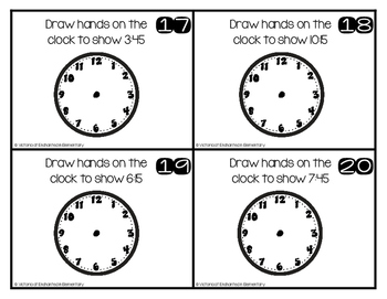 Write and Wipe Math: Time to the Quarter Hour Set