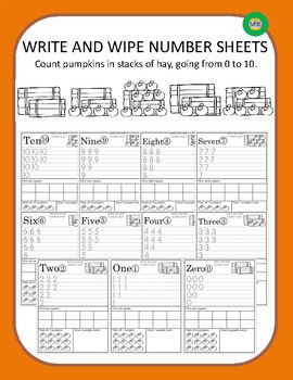 Write and Wipe Number Sheets - Counting Pumpkins