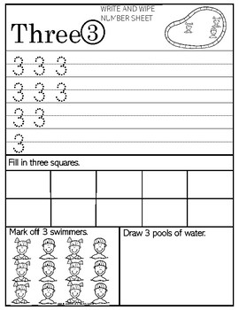 Write and Wipe Number Sheets - Counting the swimmers