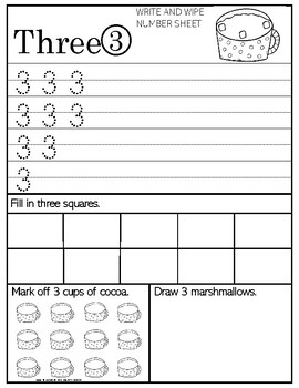Write and Wipe Numer Sheets - Counting Cups of Cocoa
