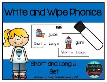Write and Wipe Phonics: Short and Long U Set