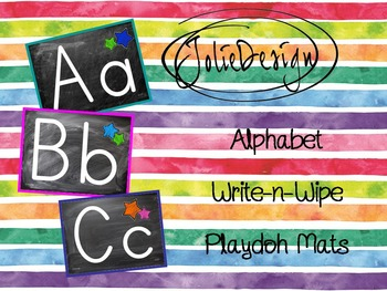 Write and Wipe Playdoh Mats - Chalkboard Alphabet