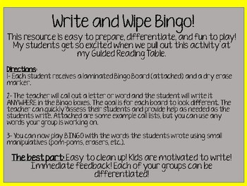 Write and Wipe Reading Bingo!