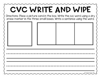 Write and Wipe Short Vowel CVC Word Activity Mat