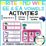 Write and Wipe Vowel EE and EA Phonics Activities - Distance Learning