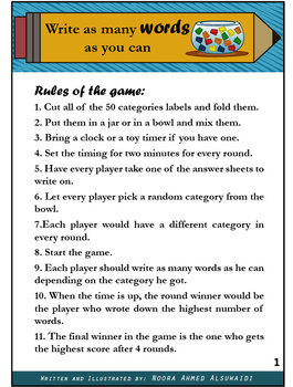 Write as many words as you can - Vocabulary game for all ages