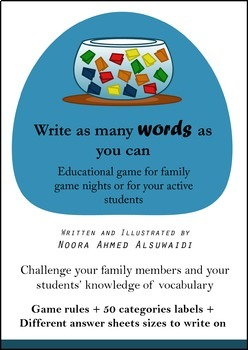 Write as many words as you can - vocabulary game