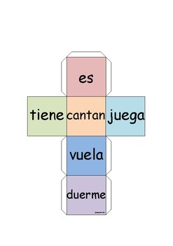 Write complete sentences in Spanish whith these 6 dice (no cursive)