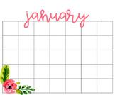 Write-in Editable Floral Calendar