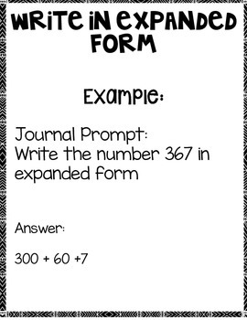 Write in Expanded and Word Form:  Math Notebook CCS 2.NBT.A.3