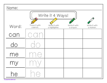 Write it 4 Ways! - For Sight Words