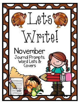 Write it! November Journal Prompts, Word Lists, and Cover Pages
