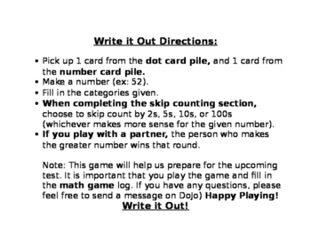 Go Math Ch.1: Write it Out!  Game *EDITABLE*