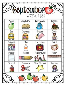 Write it! September Journal Prompts, Word Lists, and Cover Pages
