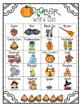 Write it! October Journal Prompts, Word Lists, and Cover Pages