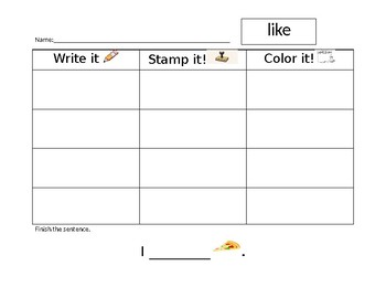 Write it! Stamp it! Color it!