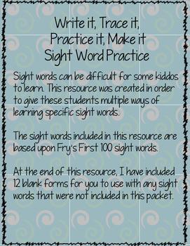 Write it, Trace it, Practice it, Make it, 100 Sight Word Practice