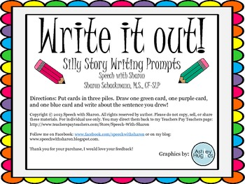 Write it out! Silly story writing prompts