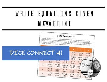 Write linear equations given m and a point (dice connect4)