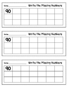 Write numbers from 90 - 110