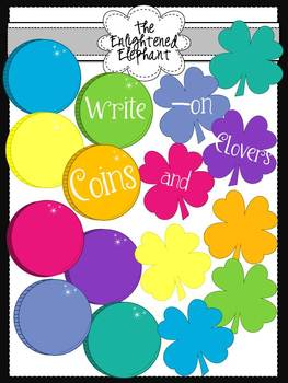 Write-on Colorful Coins and Clovers Clip Art