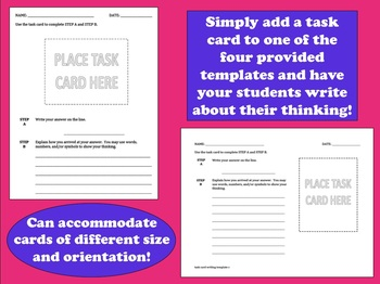 "FREE ""Write"" on Task - task card written response template"
