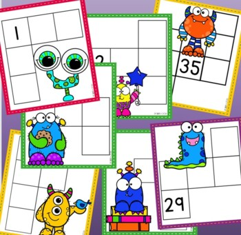 Number Grids Puzzles Fun Set {Monster Themed}