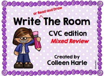 Write (or Read and Draw) the Room/CVC Mixed Review (short a, e, i, o, u)
