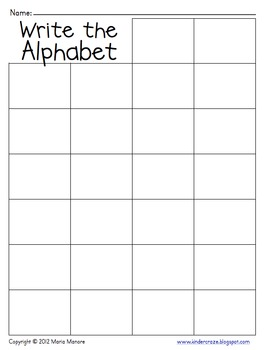 Write The Alphabet Grid By Maria Gavin Teachers Pay Teachers