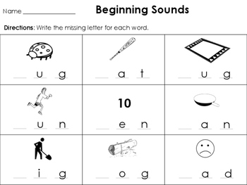 Write the Beginning Sound in the CVC word