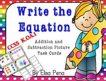 Write the Equation: Addition and Subtraction Picture Cards