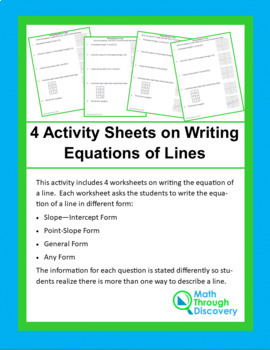 4 Activity Sheets on Writing Equations of Lines