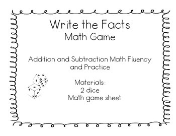 Write the Facts Math Dice Game