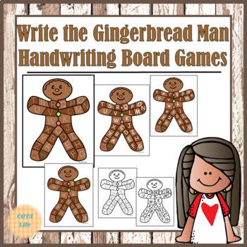 Write the Gingerbread Man Handwriting Board Games