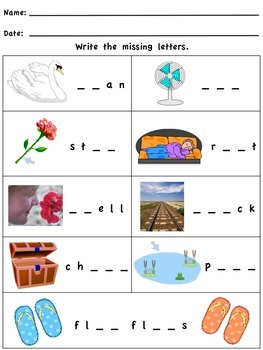 Write the Missing Letters - Short Vowel Words
