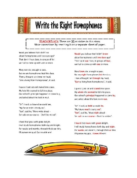 Write the Right Homophones