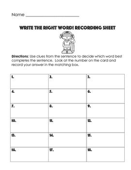 Homophones: Write the Right Word