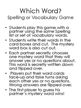 Which Word? Spelling or Vocabulary Game