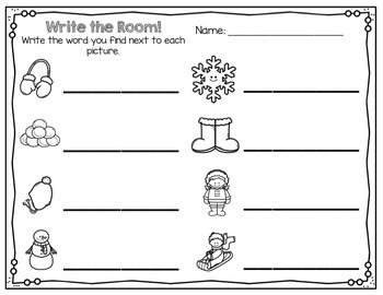 Kindergarten Write the Room - January {Write the Room Monthly}
