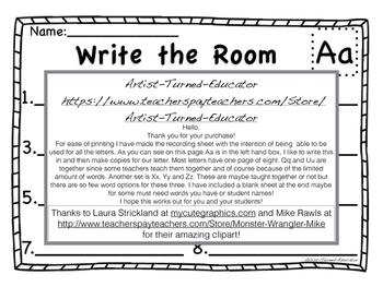 Write the Room ABC's