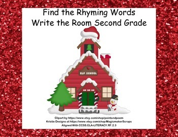 Rhyming Words-Write the Room Activity-Grade 2- Christmas Theme