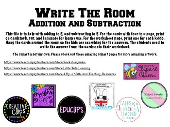 Write the Room- Add/Subtract